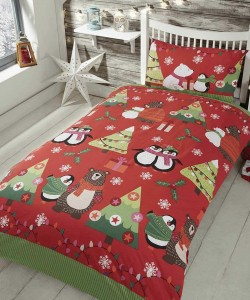 Children's single bedding set TOGETHER AT XMAS RED 135x200
