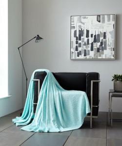 Throw Blanket STARS Glitter Aqua 150x200