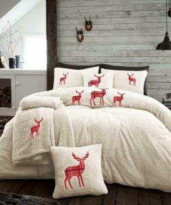 Double Microplush Comforter Set With Deer CREAM 200x200