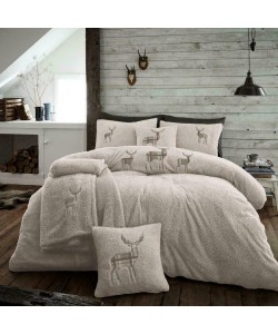 Double Microplush Comforter Set With Deer NATURAL 200x200