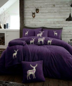 Double Microplush Comforter Set With Deer PURPLE 200x200