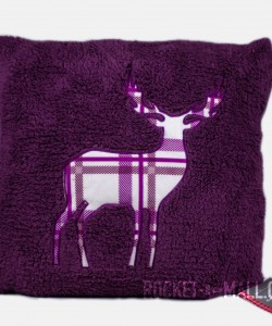 Stag Embroided Soft Teddy Feel Cushion Cover PURPLE 45x45