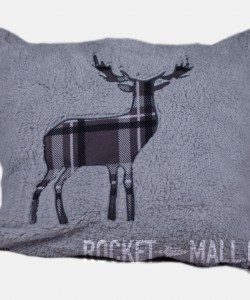 Stag Embroided Soft Teddy Feel Cushion Cover SILVER 45x45