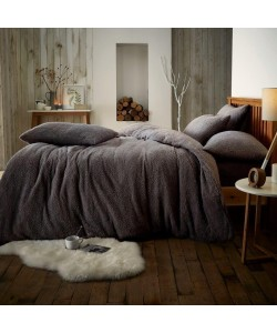Double Microplush Comforter Set SOFT TEDDY FEEL CHARCOAL 200x200