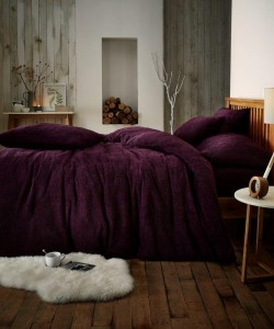 Single Microplush Comforter Set SOFT TEDDY FEEL PURPLE 135x200