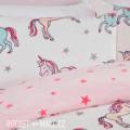 Teddy Fleece Reversible Single Bedding Set UNICORN 135x200