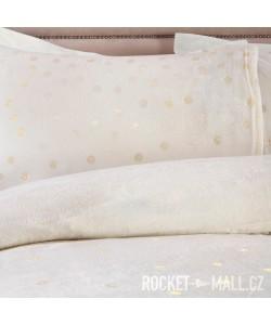 Teddy Fleece Reversible Double Bedding Set FOIL DOTS IVORY 200x200