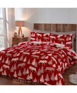 Teddy Fleece Reversible Double Bedding Set WINTER MOOSE 200x200