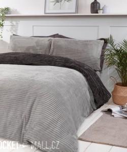 Teddy Fleece Reversible Single Bedding Set GREY RIBBED 137x200