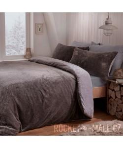 Teddy Fleece Reversible Double Bedding Set GREY WAFFLE 200x200