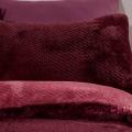 Teddy Fleece Reversible Double Bedding Set PLUM WAFFLE 200x200