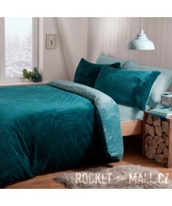 Teddy Fleece Reversible Double Bedding Set TEAL WAFFLE 200x200