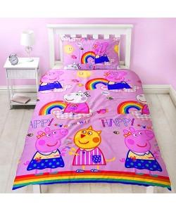 Children's single bedding set PEPPA PIG HOORAY 135x200