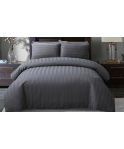 Satin Hotel Quality Double Bedding Set STRIPE GREY 200x200