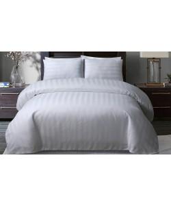 Satin Hotel Quality Double Bedding Set STRIPE WHITE 200x200