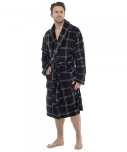 Mens Check Print Supersoft Dressing Gown BLACK