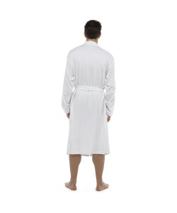 Mens Plain Colour Waffle Dressing Gown WHITE