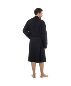 Mens Plain Colour Waffle Dressing Gown BLACK