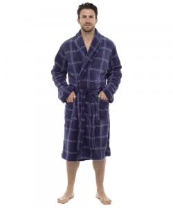 Mens Check Print Supersoft Dressing Gown BLUE