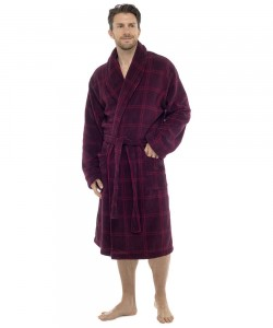 Mens Check Print Supersoft Dressing Gown RED