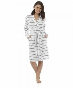 Womens Soft Stripe Print Dressing Gown GREY