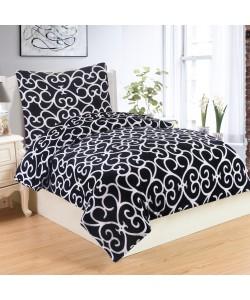 Microplush Comforter Set VENEZIA BLACK 140x200
