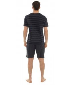 Mens Pyjama Short Stripe Print Set GREY