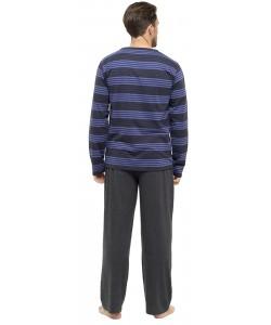 Mens Striped Long Sleeve Pyjama Set GREY