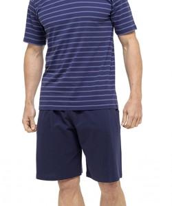 Mens Pyjama Set Blue DARK STRIPED