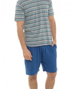 Mens Pyjama Short Stripe Print Set NAVY