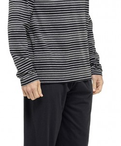 Mens Striped Long Sleeve Pyjama Set BLACK