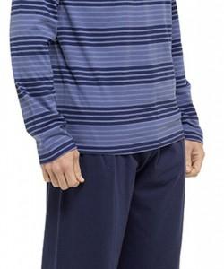 Mens Striped Long Sleeve Pyjama Set BLUE