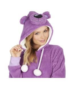 Ladies Snuggle Fleece Onezee With Hood BEAR