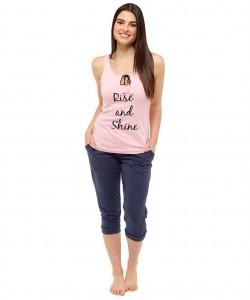 Ladies Vest & Crop Pants Lounge Pyjamas RISE AND SHINE