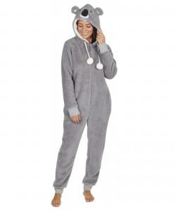 Ladies Snuggle Fleece Onezee With Hood KOALA